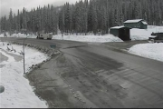 A little white stuff hit the ground this morning at the Kootenay Pass summit.  Photo courtesy Drive BC